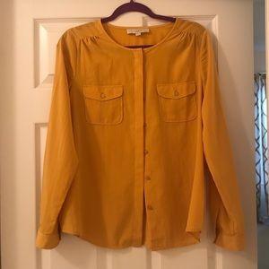 Ann Taylor mustard yellow button down blouse